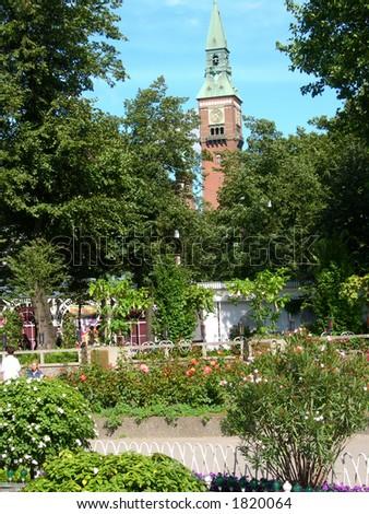 Copenhagen city hall seen from Tivoli gardens.