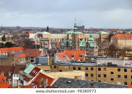 Copenhagen, Denmark - aerial view of the Old Town. Oresund region.