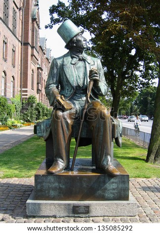 COPENHAGEN, DENMARK - AUGUST 3: Hans Christian Andersen statue in Copenhagen on August 3, 2005. He was a Danish author and poet  best remembered for his fairy tales