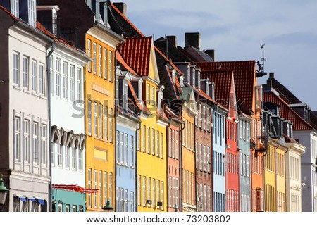 Copenhagen, Denmark - colorful buildings of Nyhavn street. Oresund region.