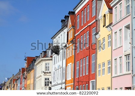 Copenhagen, Denmark - colorful buildings of Nyhavn street. Oresund region.
