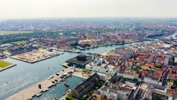 Copenhagen, Denmark. General panorama of the  historical part of the city. Amalienborg. The palace complex of the XVIII century in the Rococo style, From Drone