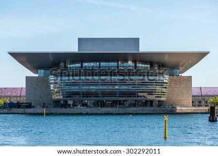 COPENHAGEN, DENMARK - JULY 16: The Copenhagen Opera House, designed by Henning Larsen on July 16, 2015. It is located on the island of Holmen in central Copenhagen. #302292011