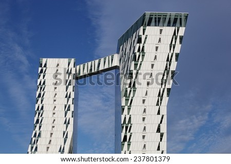 Copenhagen Denmark - June 7, 2014: The Bella Sky Comwell Hotel is a 4-star conference hotel adjacent to the Bella Convention and Congress Center in the Orestad district of Copenhagen, Denmark.