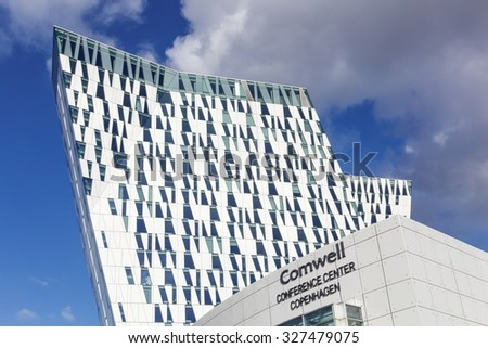 Copenhagen, Denmark - October 11, 2015: The Bella Sky Marriot Hotel is a 4-star conference hotel adjacent to the Bella Convention and Congress Center in the Orestad district of Copenhagen, Denmark.
