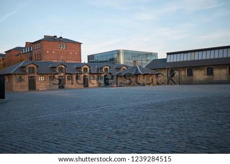 Copenhagen, Denmark - October 10, 2018 : View of the Brown district in Copenhagen #1239284515
