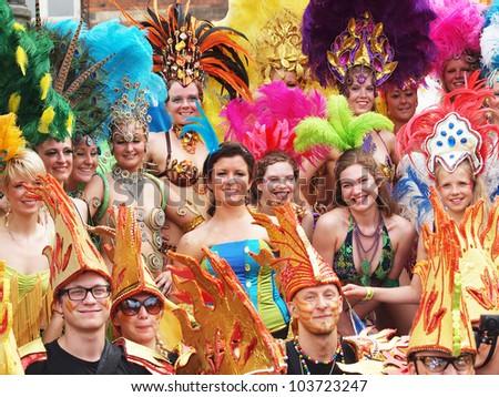 COPENHAGEN - MAY 26: Participants in the 30th annual Copenhagen Carnival parade of fantastic costumes, samba dancing and Latin styles on May 26, 2012 in Copenhagen, Denmark.