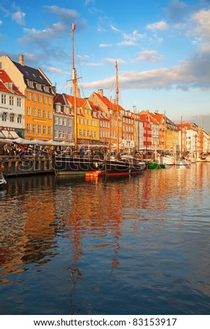 Copenhagen (Nyhavn district) at the sunset