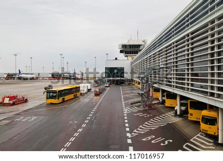 COPENHAGEN - OCTOBER 22: View of Kastrup airport on October 22, 2012 in Copenhagen, Denmark. The airport carried more than 62,000 passengers daily and is the busiest airport in Nordic countries.