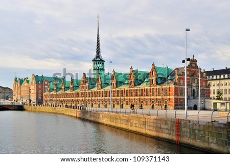 Copenhagen. Old Stock Exchange building with a spire in the form of entwined  paws of the dragon