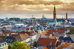Copenhangen, Denmark aerial view of the skyline.