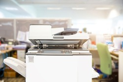 Copier printer, Close up the photocopier or photocopy machine office equipment workplace for scanner or scanning document and printing or copy paper and xerox.
