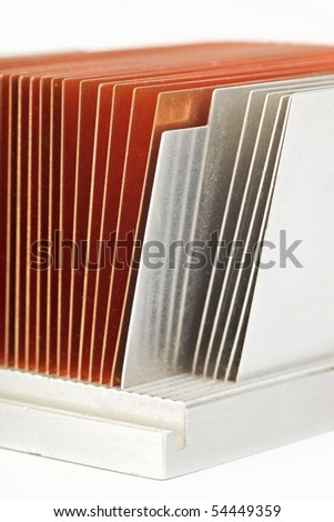 Copper and aluminum CPU cooler radiator isolated  on white background