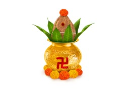 Copper and gold kalash with coconut and mango leaf with marigold flower decoration at the bottom for hindu puja  for all hindu pooja occasions
