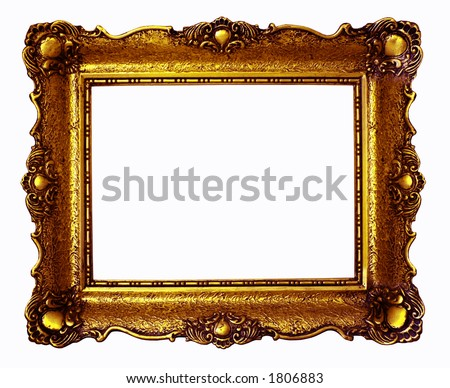 Copper antique painting frame isolated on white background