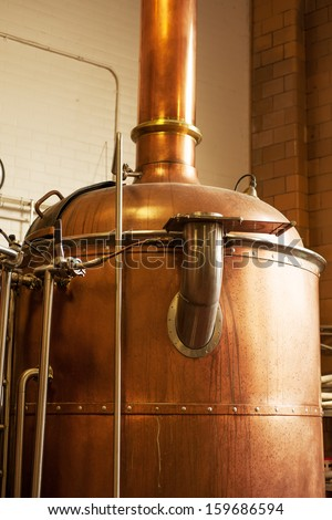 Copper boil kettle in the American brewery Stock photo ©