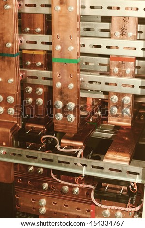 Copper busbar. Uninterrupted power. Electrical power. #454334767