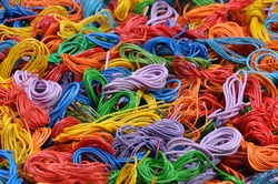 Copper cable scrap recycling industrial background