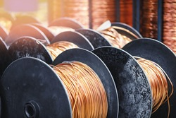 Copper coil cable spool on factory, warehouse factory wire.