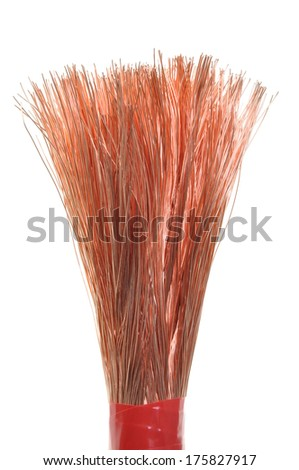 Copper electric power cable isolated on white background #175827917