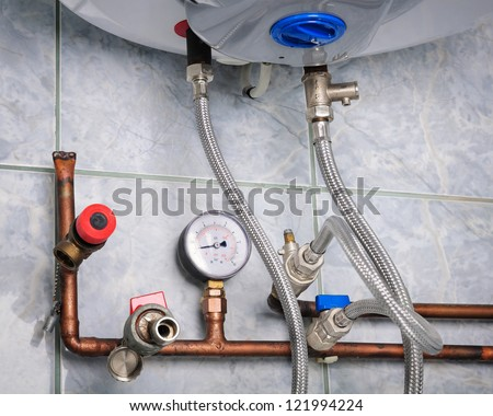 Copper heating pipes system close up
