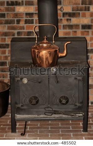 Copper Kettle On Woodburning Stove Stock Photo 485502