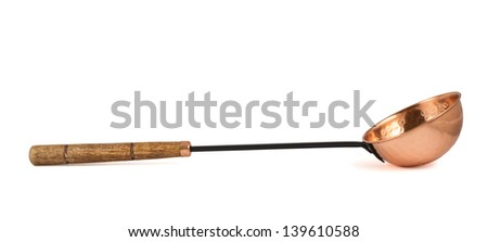 Copper ladle bath scoop isolated over white background