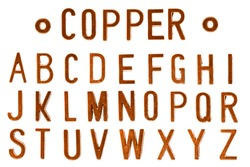 Copper letter or red gold retro industry style font face or font type letter A to Z