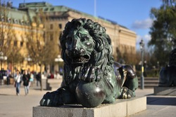 Copper lion sculpture Kungstradgarden Stockholm