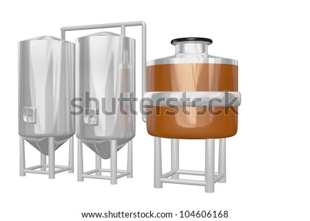 copper mash vat with two shiny tanks part of a beer brewery