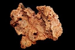 copper metal mineral isolated on the black background