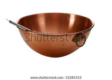 copper mixing bowl isolated on white