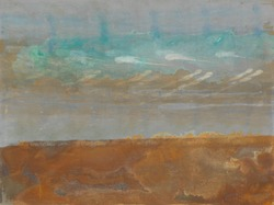 Copper patina and rust abstract landscape painting by Paul Seftel