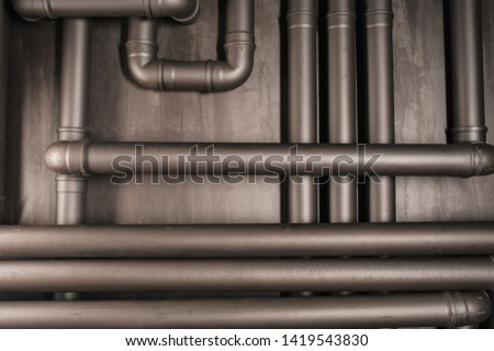 Copper pipe. Difficult communication, retro, texture a lot of pipes #1419543830