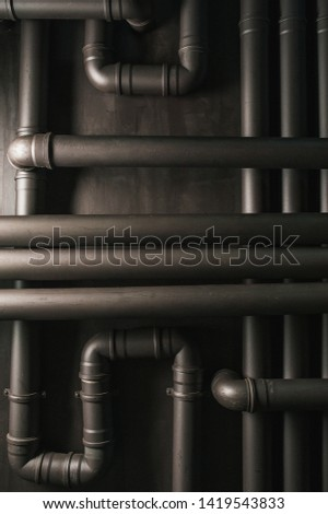 Copper pipe. Difficult communication, retro, texture a lot of pipes #1419543833