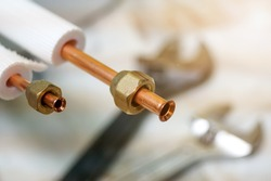 Copper pipe fitting for air conditioning installation.copper pipe of air conditioner. Flare Copper Pipe Fittings.