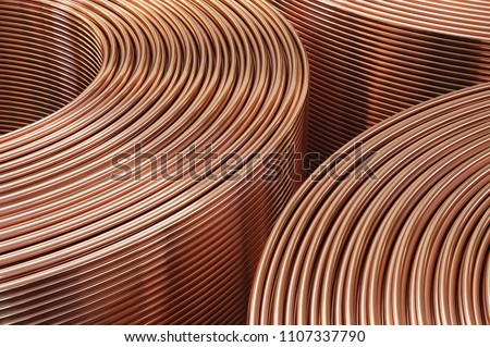Copper pipes close-up. Coils with tubes in warehouse. 3D Illustration  ストックフォト ©