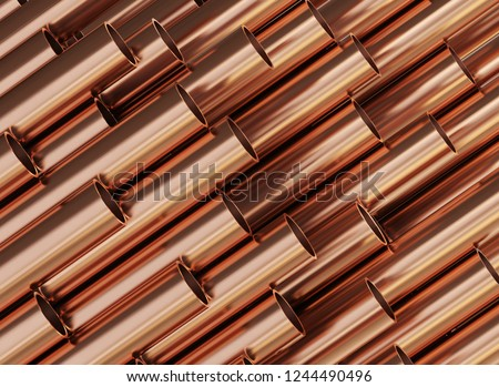 Copper pipes, copper rolled metal products. 3d illustration.