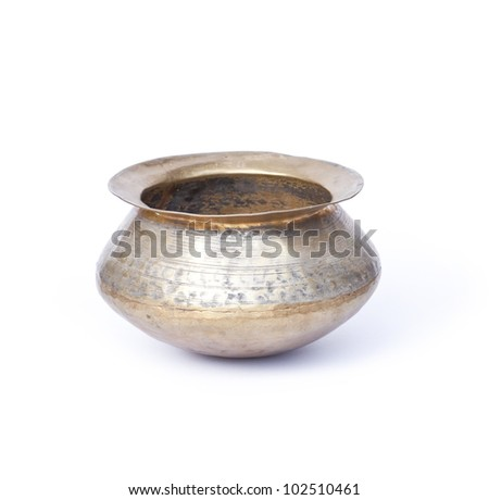 copper pot isolated on white