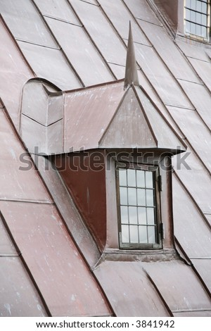 Copper roof and leaded dormer window on the castle Kronborg in Elsinore, Denmark.