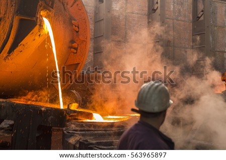 Copper smelter  Copper smelting industry complex in process of making copper plates out of copper ore #563965897