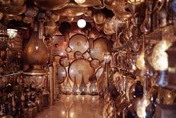 Copper souvenir handicraft shop in Morocco.