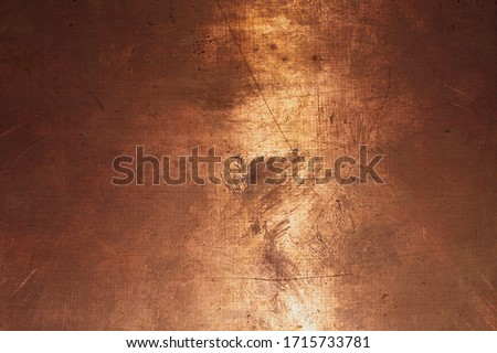 Copper surface. bronze background. metal plate with spots and scratches. brown grunge texture Сток-фото ©