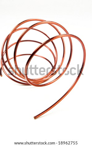 Copper wire isolated on a white background