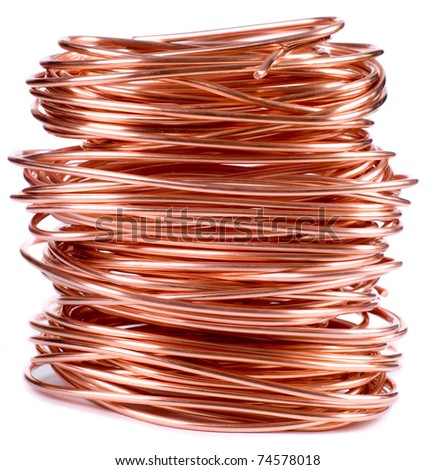 copper wire isolated on white