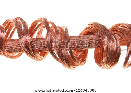 Copper wires concept of energy power industry isolated on white background