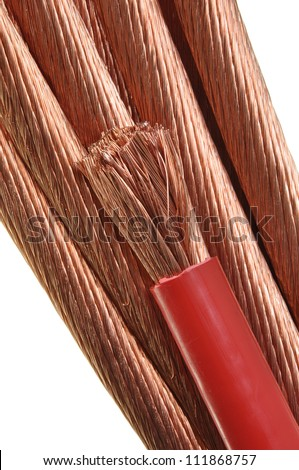 Copper wires on white background, the concept for the energy industry