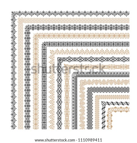 Coptic ornament frame border corners. Border corner frame decorative illustration #1110989411