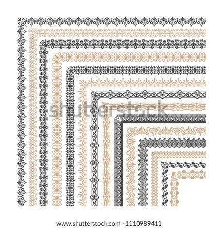 Coptic ornament frame border corners. Border corner frame decorative illustration #1110989411