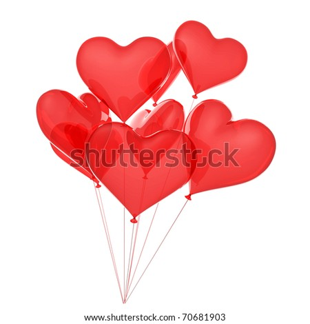 Copula of balloons as red hearts